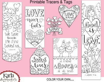 VALENTINE LOVE Color Your Own Bookmarks Bible Journaling Tags Tracers Stickers Instant Download Scripture