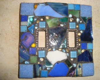 Crazy Quilt MOSAIC LIGHT SWITCH Plate Cover - Double, Wall Plate, Wall Art, Stained Glass Chips