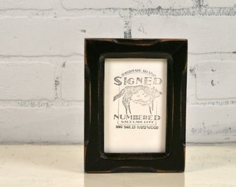 3.5x5 Picture Frame Vintage Black Finish Shallow Bones Style - IN STOCK - Same Day Shipping - Rustic 3.5 x 5 Photo Frame Black