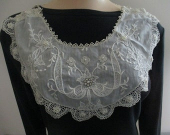 Antique Vintage Lace Collar Statement Necklace