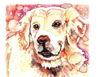 Golden Retriever Watercolor Painting Print, Artist-Signed
