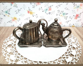 Vintage Pewter Tea Pot Salt and Pepper Shakers with Carrier