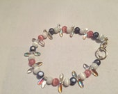 Pink and Grey Glass Beaded Bracelet