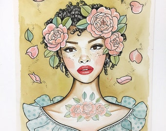 Girl and the Roses - Tattooed Girl -  Watercolor Tattoo Illustration - Painting - Art