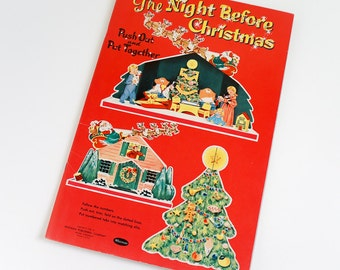 Vintage 1950s Childrens Rare Whitman The Night Before Christmas Push Out and Put Together Book 1956 UNPUNCHED / 3D Diorama Toy Collectible