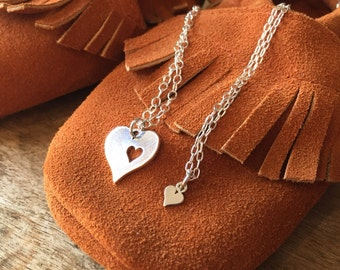 Mom and child necklace set- gift for mom - sterling necklace set- personalized jewelry- gift for child- heart necklace
