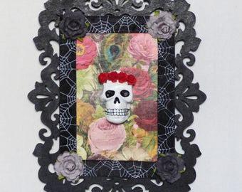 Skull Wall Art - Skull and Roses - Gothic Home Decor - Skull and Flowers Artwork
