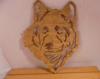 WOLF FACE HAND Made Scroll Saw Plaque