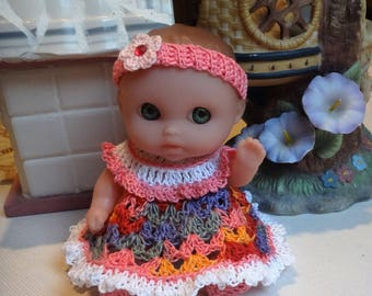 PDF PATTERN Crochet 5 inch Mini Lil Cutesies Berenguer Doll Dress Ruffled Yoke Headband Bottoms Shoes Set