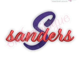Sanders Brush Script Monogram Font - BX Files included- Instant Download Machine embroidery design