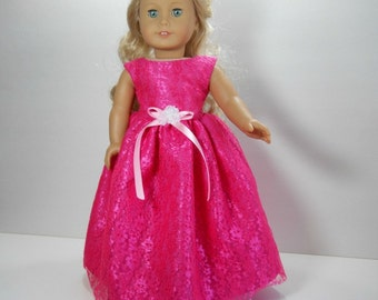 18 inch doll clothes made to fit dolls such as American Girl, Pink Lace Party Fancy Gown Snowflake Dress, 01-1677
