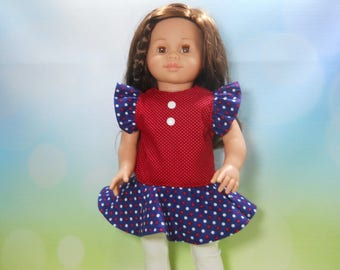 18 inch doll clothes, Red, White and Blue Top with White Leggings, 04-2008