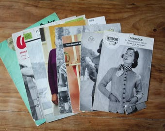 Bundle of Mid Century vintage knitting patterns for cardigans and jumpers