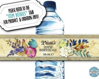 10 Waterproof Peel & Stick Water Bottle Labels, Watercolor Florals, Flowers, Wedding, Bridal or Baby Shower, Birthday, Quinceanera