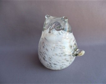Hand Blown Glass Snowy Owl, Bird Sculpture, Art Glass