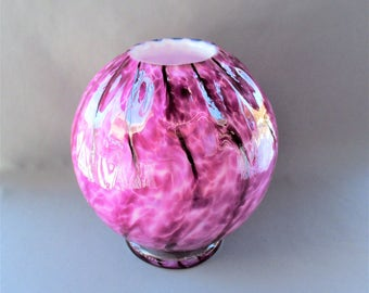 Hand Blown Art Glass  Round Vase on Foot,Heliotrope ( Pink-Purple Color).