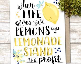 When life gives you lemons profit - printable art bossbabe