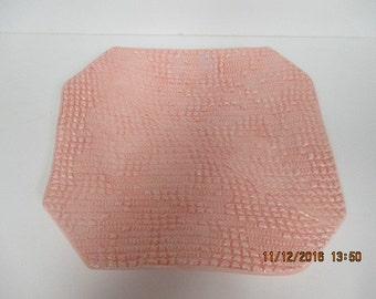 Square Stoneware Plate with Crochet Pattern