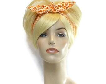 Orange Headband, Wire Headband, Reversible Headband, Dolly Bow Headband, Teen Headbands, Headband for Adults, Twist Headband, Cute Headbands