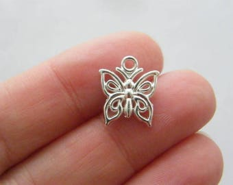 BULK 50 Butterfly charms silver plated tone A515