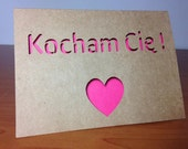 Kocham Cię - I love you in Polish - kraft paper cut out card with pink insert