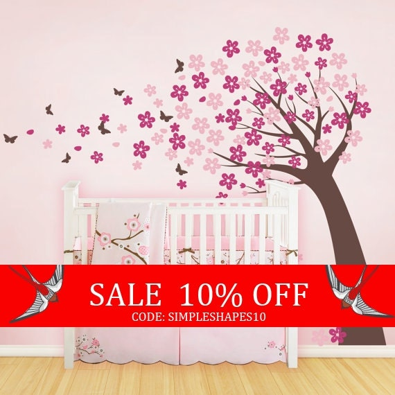 Sale - Cherry Blossom Tree with Butterflies - Vinyl Wall Decals