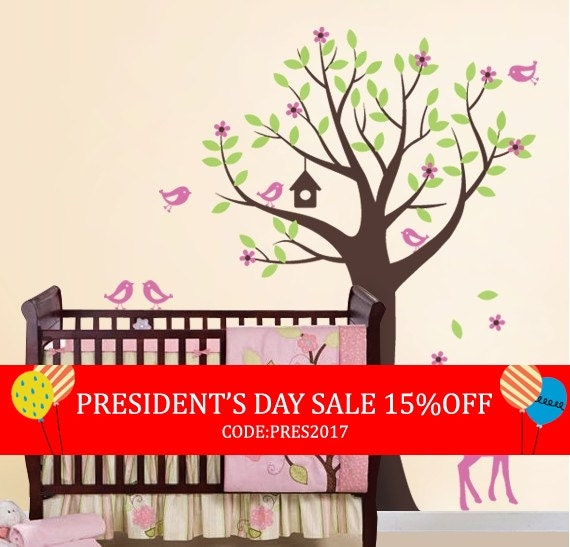 President's Day Sale - Tree with Birds and Fawn Decal Set - Kid's Nursery Room Wall Sticker