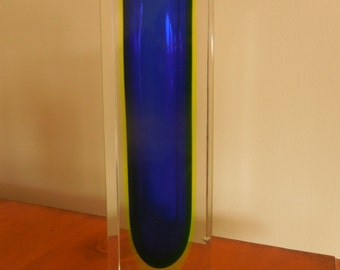 Sommerso Blue and Yellow Murano Glass Vase