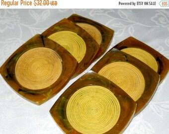 Vintage Set of Celluoid Coasters Six