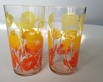 Vintage Federal Glass Company Floral Juice Glasses Orange and Yellow