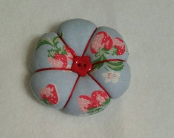 Handmade mini Pin Cushion made from Cath Kidston Blue Strawberry fabric