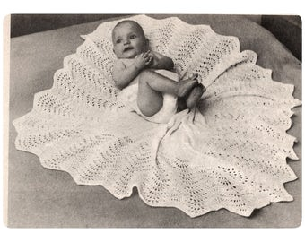 Download PDF Leaf Shawl Knitting Pattern - Heirloom christening Baptism Baby Shawl
