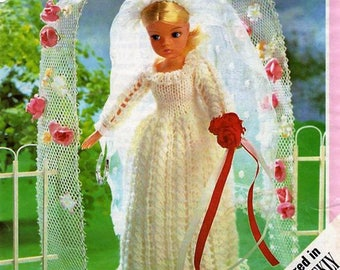 Knitting PATTERN - Sindy Doll Bride, Wedding Dress Trousseau  - also fits Tammy and similar dolls