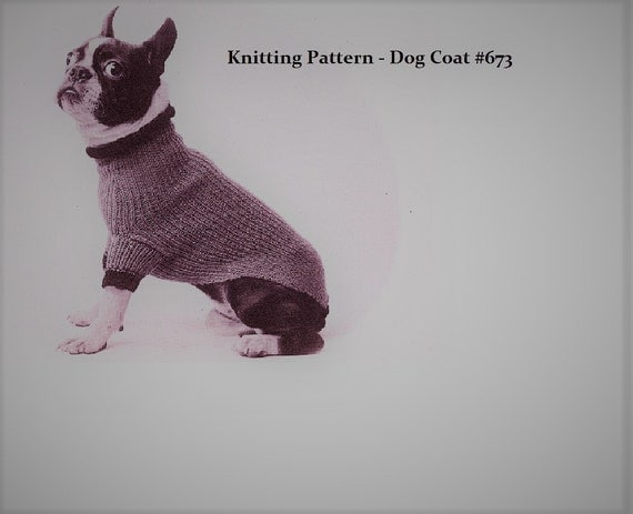 Knitting Pattern For Medium Sized Dog : Vintage Knitting Pattern PDF to make An EASY Turtle Neck Dogs Sweater or...