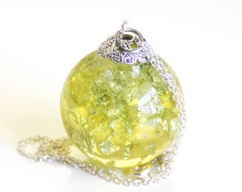 Resin Sphere Necklace- Resin Pendant Necklace- Resin jewelry- Resin Lemon Pendant- Sphere necklace- Resin Necklace- Lemon Sphere pendant