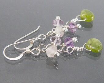 BELLADONNA Vesuvianite Earrings, Amethyst Gemstone Cluster Earrings, Small Dangle Earring, Sundance Style Jewelry, Sterling Silver Cascade