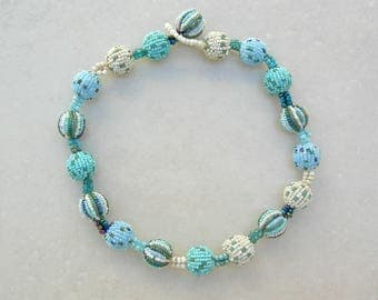 Pretty Ocean Bubbles, Beaded Beads from Indonesia, Turquoise/White/Blue, Small Glass Seed Beads, Necklace by SandraDesigns