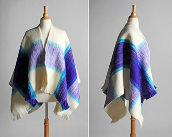 Vintage Fall Wool Blanket Poncho - Plaid Purple Teal White 1970's Shawl Cape Open Front Cardigan Outdoor Retro 70's Warm - One Size Fits All