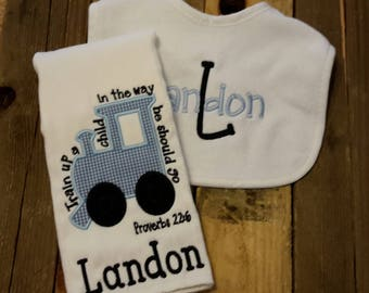 Train up a child burp cloth-baby shower gift-personalized baby bib-bib and burp cloth set