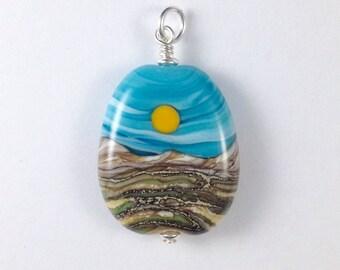 Sun & Landscape Handmade Lampwork Glass Bead Pendant