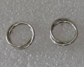 12mm   Sterling Silver  Double Circle Post Earrings