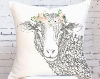 Pillow Cover Farmhouse Decor Floral Sheep Pillow Cover Blush