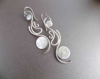 Long Sterling Silver Earrings/ Silver Metalwork Dangle Earrings/ Full Moon Balance Earrings/ Art Nouveau Jewelry/ Large Earrings