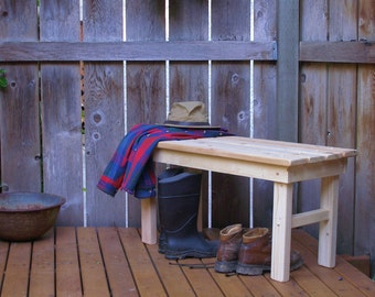 Country Outdoor Entryway Bench - Mud Bench - Garden Bench - Order Your Favorite Color - 12 Colors Available - Strong Durable Cedar/Pine