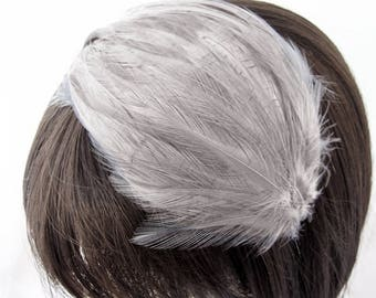 Silver GREY Feather Pad (rooster feather) Applique for millinery,mardi gras masks,costume hats,flapper feather fascinator,children headband
