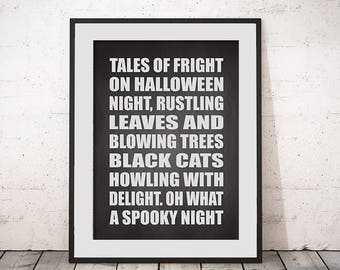 Halloween Print Tales of Fright Home Decor Instant Download Art Print Wall Art Typography Poster Halloween Poem Printable Black and White