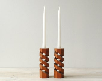 Vintage Teak Wood Candle Holder Pair, Danish Modern Candle Holders
