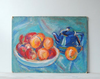 Vintage Still Life Painting of Fruit and a Teapot