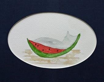 Grey cat in watermelon original watercolor, small art, simple, children's art, simple, matted, kitchen art, fruit, summer, picnic, nursery