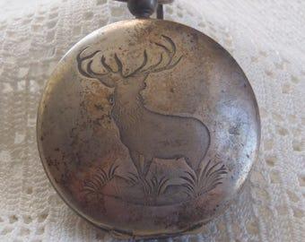 Vintage Pocket Watch Holder Case Engraved Moose Design